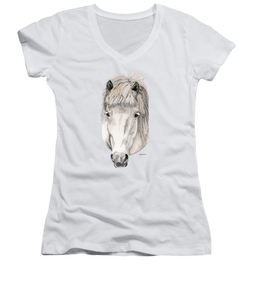 Women's V-Neck T-Shirt (Junior Cut) featuring the painting Kind Eyes by Shari Nees