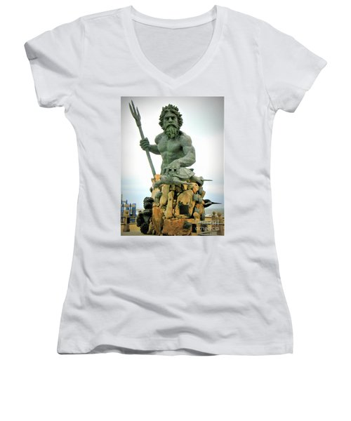 King Neptune Statue Women's V-Neck (Athletic Fit)