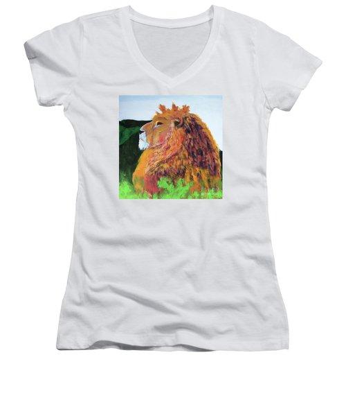 King Of Hearts Women's V-Neck T-Shirt (Junior Cut) by Donald J Ryker III