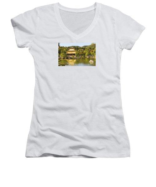 Women's V-Neck T-Shirt (Junior Cut) featuring the photograph Kinkakuji by Pravine Chester