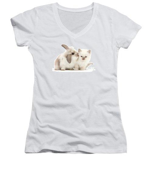 Kiss Her Fluffy Cheek Women's V-Neck T-Shirt