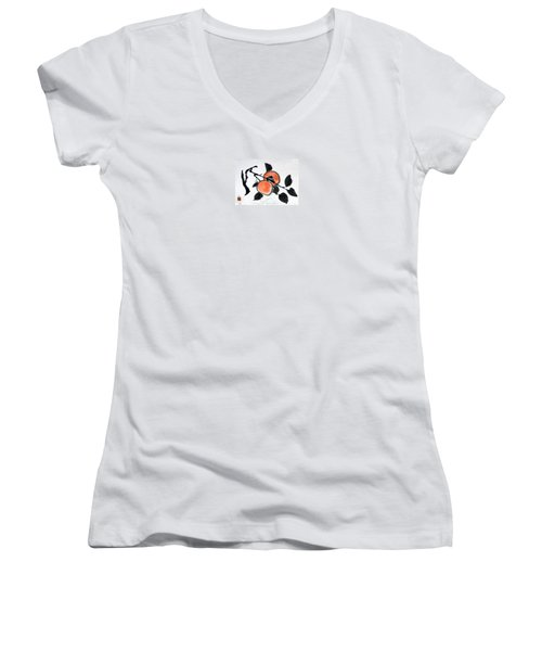 Kissing Persimmons Women's V-Neck T-Shirt