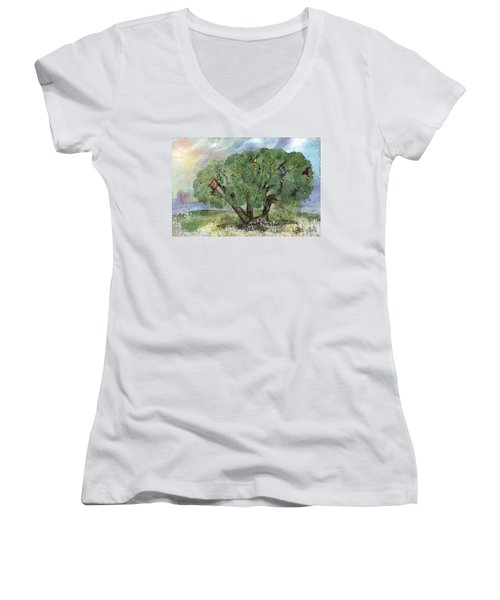 Women's V-Neck T-Shirt (Junior Cut) featuring the painting Kite Eating Tree by Annette Berglund