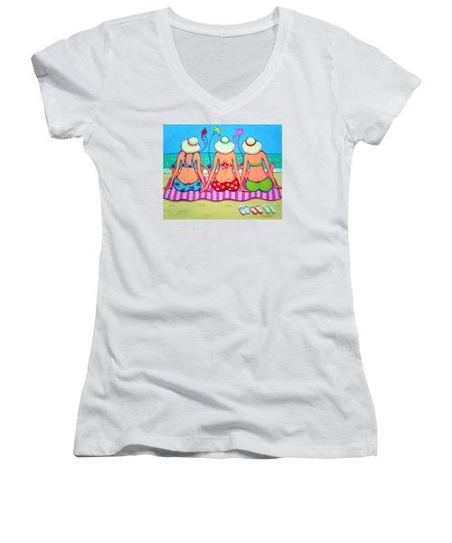 Kite Flying 101 - Girlfriends On Beach Women's V-Neck T-Shirt (Junior Cut) by Rebecca Korpita