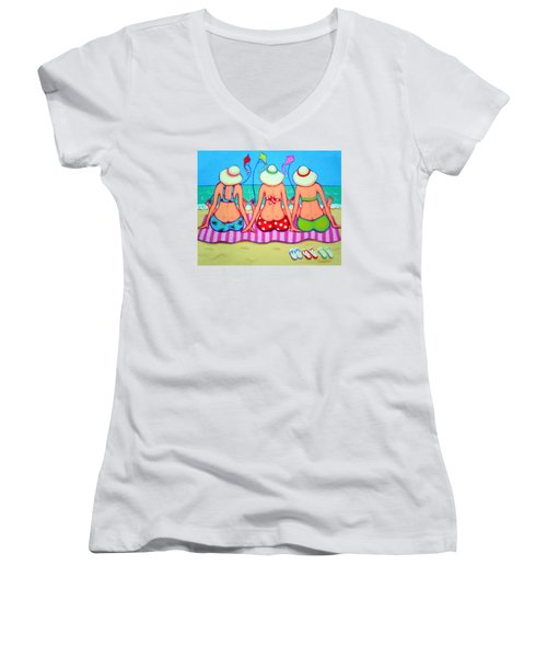 Kite Flying 101 - Girlfriends On Beach Women's V-Neck (Athletic Fit)