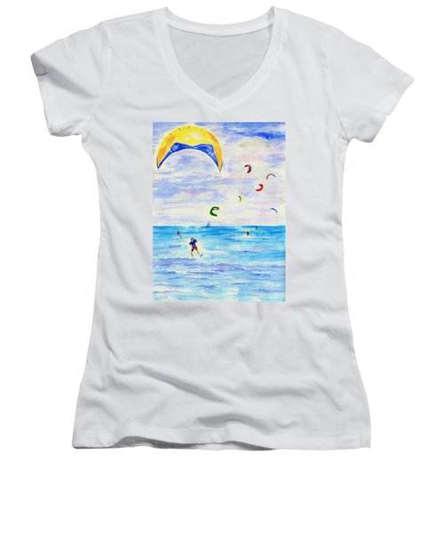 Kite Surfer Women's V-Neck T-Shirt