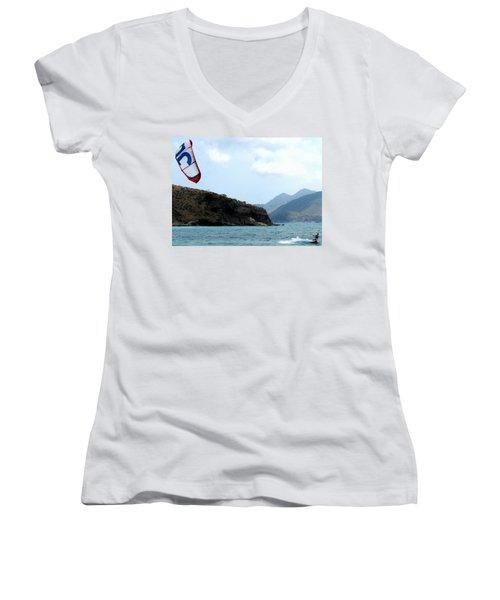 Kite Surfer St Kitts Women's V-Neck T-Shirt (Junior Cut) by Ian  MacDonald