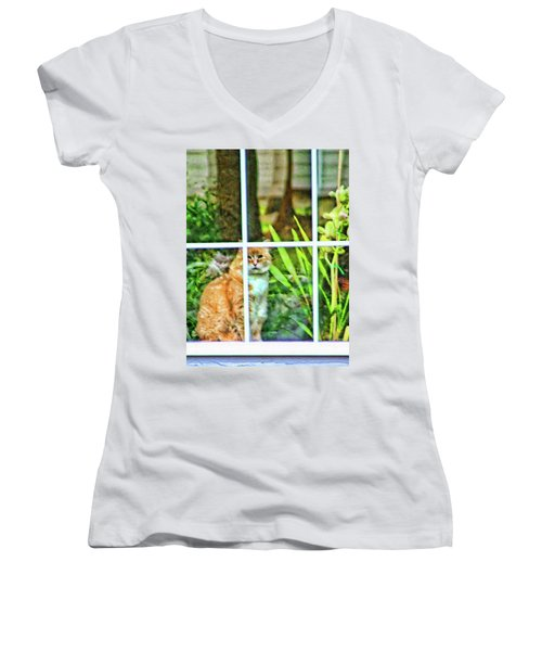 Women's V-Neck T-Shirt (Junior Cut) featuring the photograph Kitty Reflections by Wendy McKennon