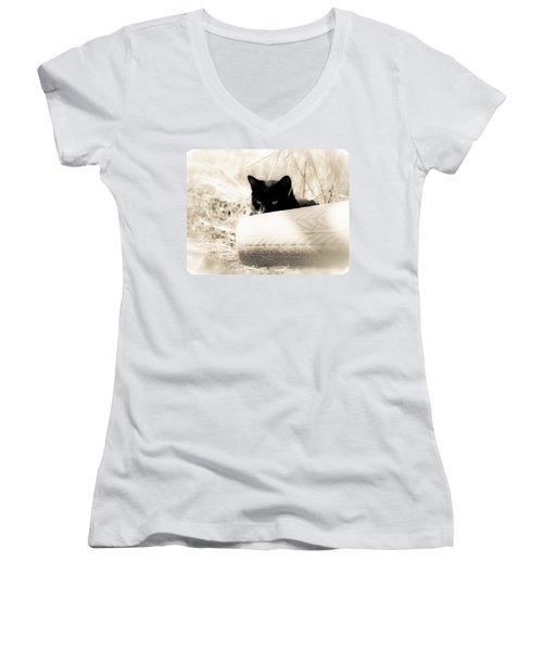 Kitty Stalks In Sepia Women's V-Neck