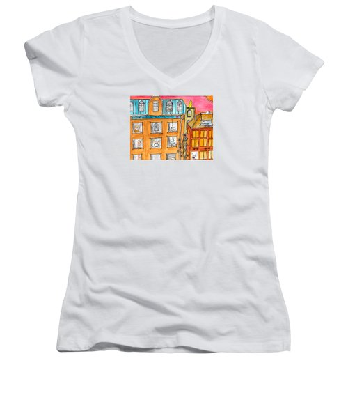 Kittyscape Hotel Women's V-Neck T-Shirt (Junior Cut) by Lou Belcher