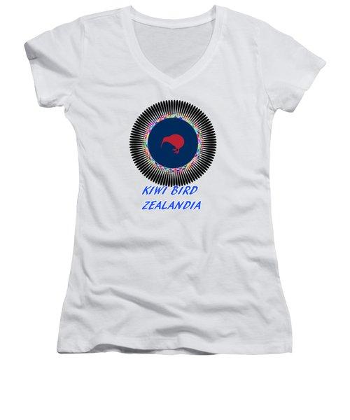 Kiwi Bird Zealandia Mandala Women's V-Neck T-Shirt (Junior Cut) by Peter Gumaer Ogden