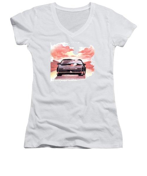 Women's V-Neck T-Shirt (Junior Cut) featuring the digital art Knight Rider by Gina Dsgn