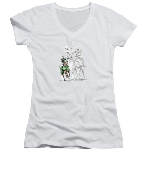 Knight Time - Renaissance Medieval Print Color Tinted Women's V-Neck T-Shirt (Junior Cut) by Kelli Swan