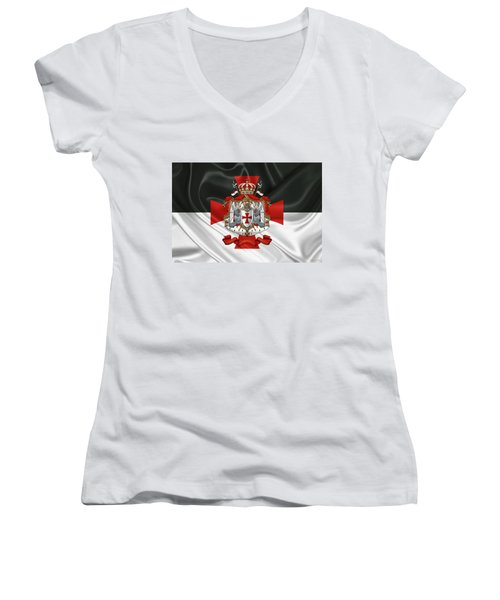 Knights Templar - Coat Of Arms Over Flag Women's V-Neck (Athletic Fit)
