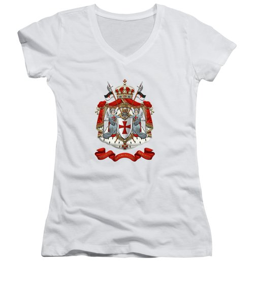 Knights Templar - Coat Of Arms Over White Leather Women's V-Neck (Athletic Fit)