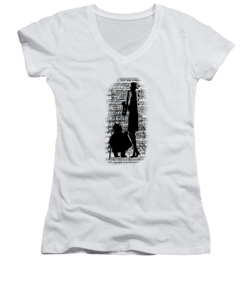 Knowing The Score Transparent Background Women's V-Neck