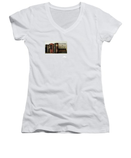 Knowledge Is Power Women's V-Neck T-Shirt (Junior Cut) by Patricia E Sundik