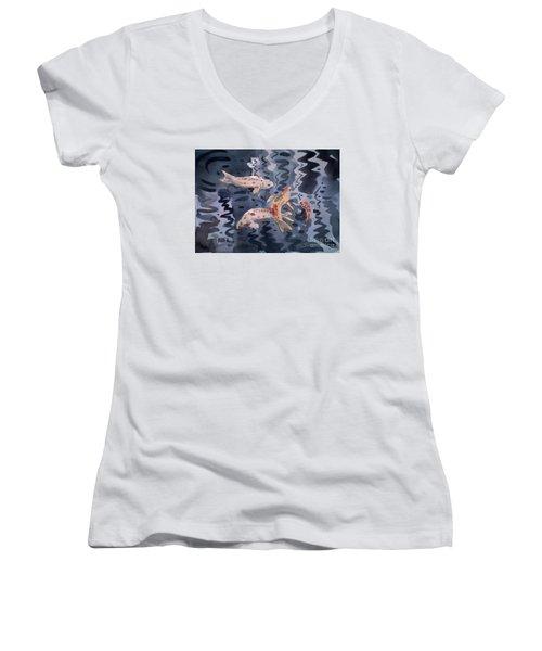 Koi Pond Women's V-Neck T-Shirt (Junior Cut) by Donald Maier