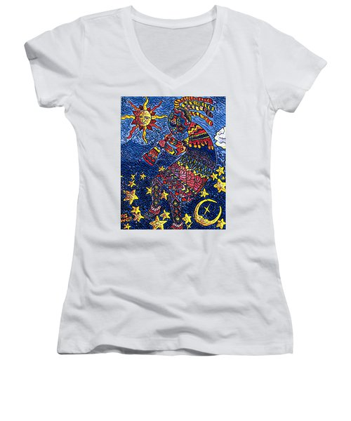 Kokopelli Mosaic Women's V-Neck T-Shirt (Junior Cut) by Megan Walsh