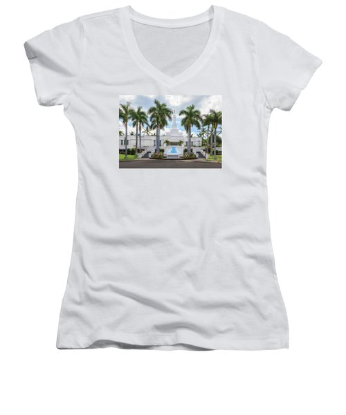 Kona Hawaii Temple-day Women's V-Neck (Athletic Fit)