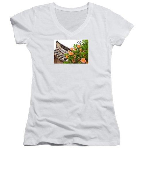 Women's V-Neck T-Shirt (Junior Cut) featuring the photograph Korean Beauty by Cameron Wood