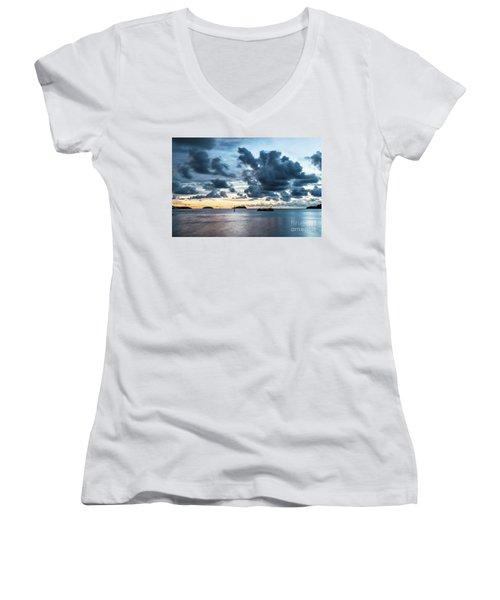Kota Kinabalu Sunset Women's V-Neck T-Shirt