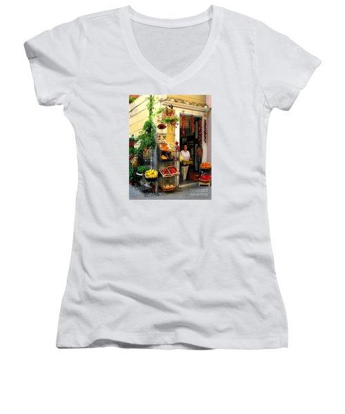 L Argogo Di Adriana  Minori Women's V-Neck T-Shirt (Junior Cut) by Jennie Breeze