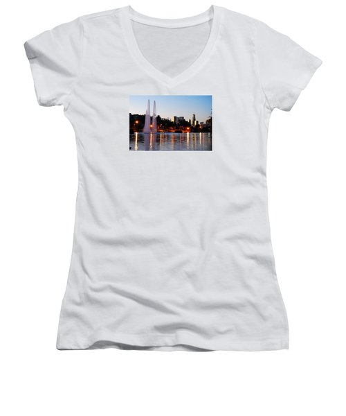 Women's V-Neck T-Shirt (Junior Cut) featuring the photograph La From Echo Lake by James Kirkikis