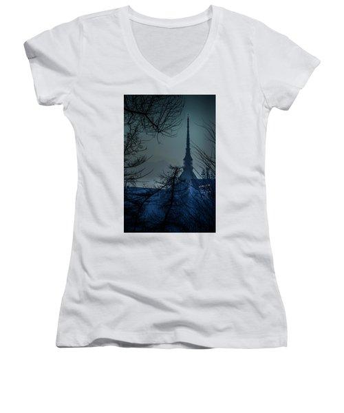 Women's V-Neck T-Shirt (Junior Cut) featuring the photograph La Mole Antonelliana-blu by Sonny Marcyan