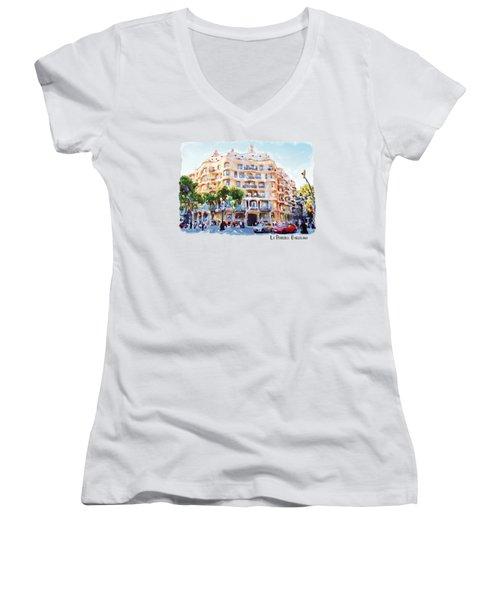 La Pedrera Barcelona Women's V-Neck T-Shirt (Junior Cut) by Marian Voicu