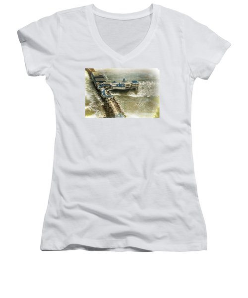 Women's V-Neck T-Shirt (Junior Cut) featuring the photograph La Rosa Nautica - Peru by Mary Machare
