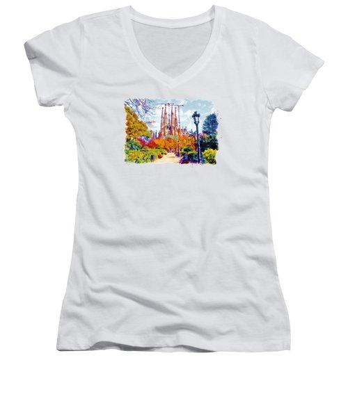 La Sagrada Familia - Park View Women's V-Neck T-Shirt (Junior Cut) by Marian Voicu