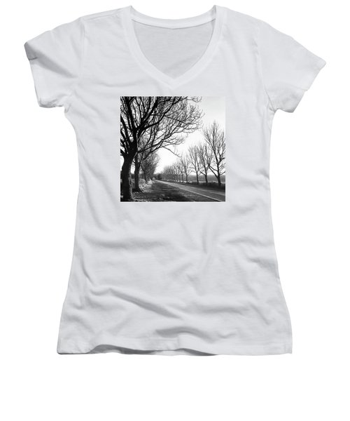 Lady Anne's Drive, Holkham Women's V-Neck T-Shirt (Junior Cut) by John Edwards
