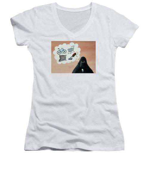 Lady Considers Her Phobias Women's V-Neck T-Shirt