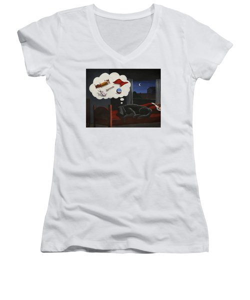 Lady Dreams About Her Favourite Things Women's V-Neck T-Shirt