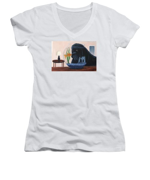 Lady Looks In The Fish Bowl For Mommy And Daddy Women's V-Neck (Athletic Fit)