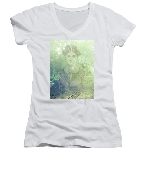 Lady On The Tracks Women's V-Neck T-Shirt