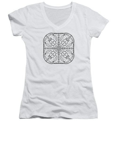 Ladybug Mandala Women's V-Neck T-Shirt (Junior Cut) by Tanya Provines