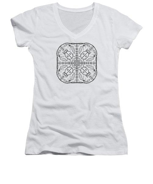 Ladybug Mandala Women's V-Neck T-Shirt