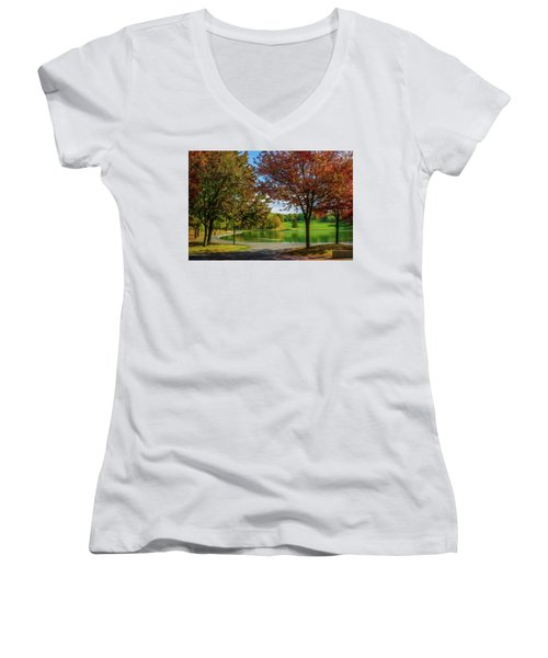 Lagoon Park In Montreal Women's V-Neck