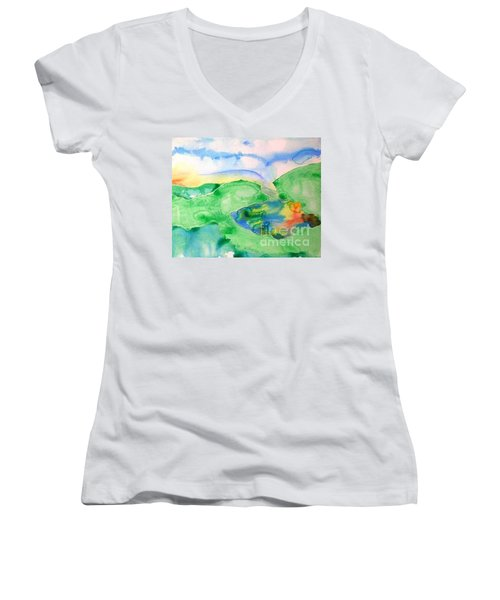 Lake At Sunset Women's V-Neck T-Shirt (Junior Cut) by Lynda Cookson