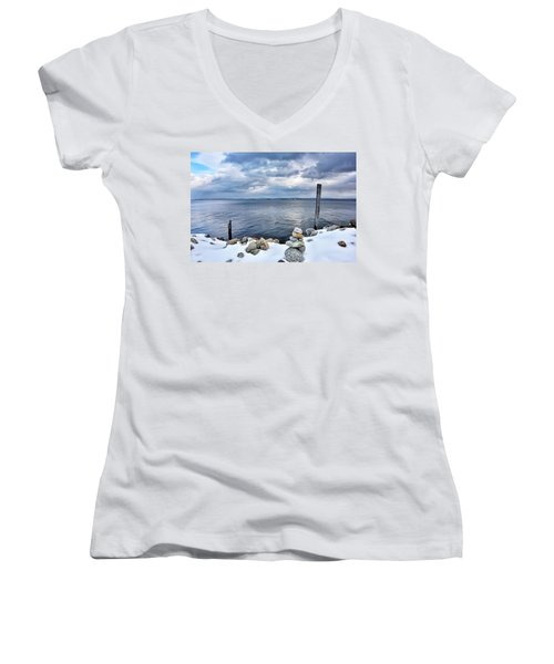 Women's V-Neck T-Shirt (Junior Cut) featuring the photograph Lake Champlain During Winter by Brendan Reals