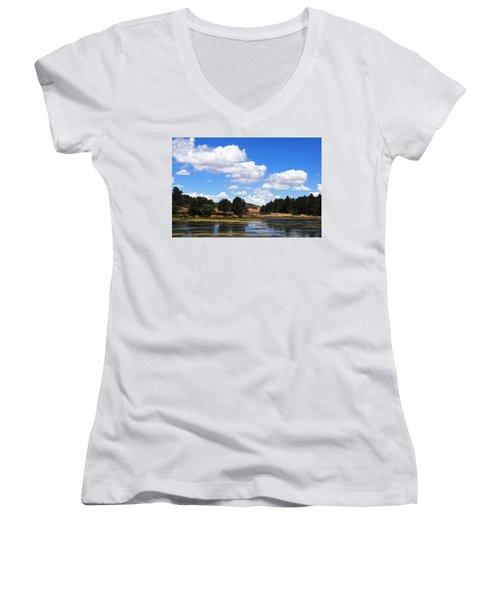 Lake Cuyamac Landscape And Clouds Women's V-Neck T-Shirt (Junior Cut) by Matt Harang