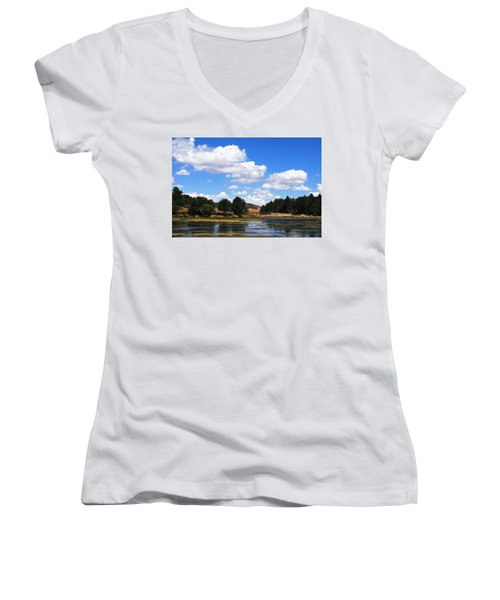 Lake Cuyamac Landscape And Clouds Women's V-Neck T-Shirt (Junior Cut)