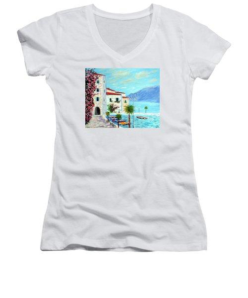 Lake Garda Bliss Women's V-Neck T-Shirt (Junior Cut) by Larry Cirigliano