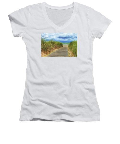 Women's V-Neck T-Shirt (Junior Cut) featuring the photograph Lake Huron Boardwalk by Bill Gallagher