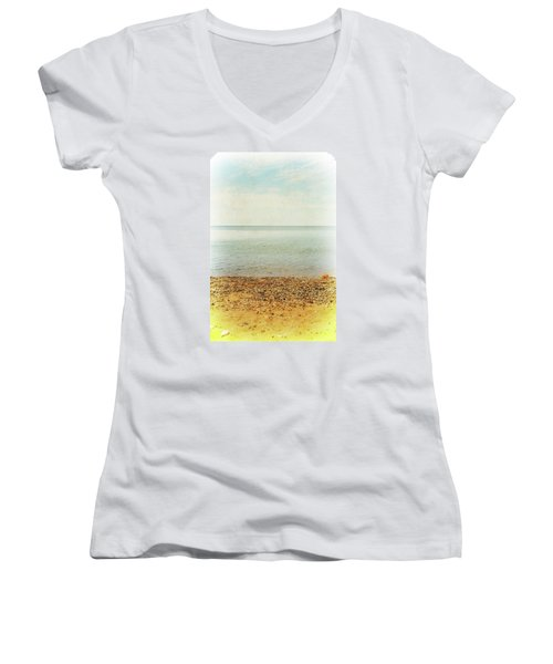 Women's V-Neck T-Shirt featuring the photograph Lake Michigan With Stony Shore by Michelle Calkins