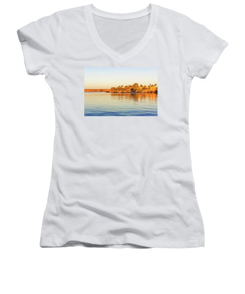 Lake Nasser In Abu Simbel Women's V-Neck (Athletic Fit)