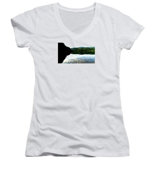 Lake Padden Cloud Reflection Women's V-Neck T-Shirt (Junior Cut) by Karen Molenaar Terrell