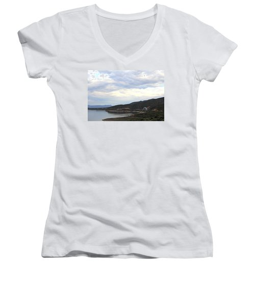 Lake Roosevelt Bridge 1 Women's V-Neck (Athletic Fit)